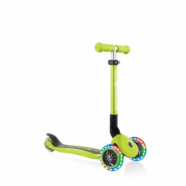 Сгъваема тротинетка със светещи колела, Globber Junior - 2+ г., зелена