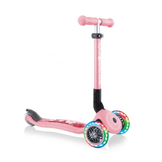 Сгъваема тротинетка със светещи колела Globber Junior Fantasy Lights, пастелно розова