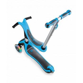 Тротинетка - триколка EVO 4 в 1 Plus Light със светещи колела и двуцветна платформа - Синя