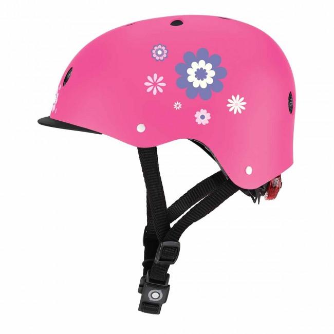 Детска каска за колело и тротинетка Globber, 48-53 см, светеща, розова