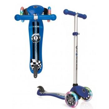 Тротинетка Primo Fantasy Light със светещи гуми - Синя състезателна щампа