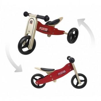 Дървено колело за баланс 2 в 1 FUNBEE - червено