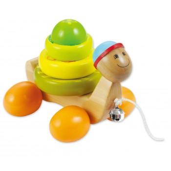 Дървена  играчка Костенурка за дърпане