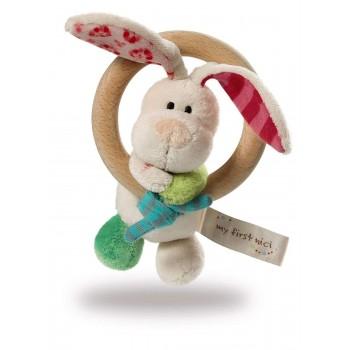 Бебешка плюшена играчка гризалка Зайче