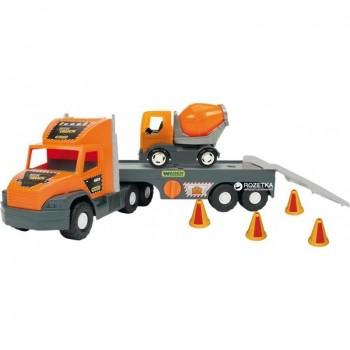 Голям камион играчка с ремарке и малък бетоновоз