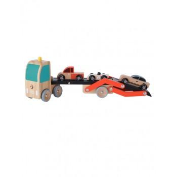 Дървена играчка - Автовоз с колички