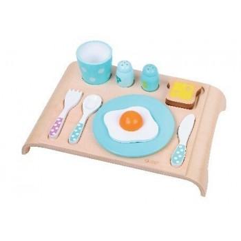 Детски дървен комплект за закуска - син