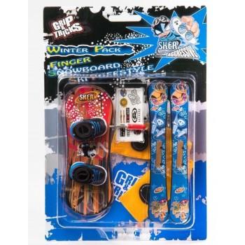 Комплект играчки за пръсти - Сноуборд и ски с щампа ''Нинджа''