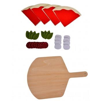 Дървен кухненски комплект - Пица с дъска за рязане