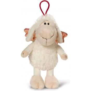 Овцата Jolly с ластиче-Don t worry be happy- Бяла 15 см.