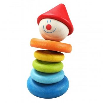 Дървена дрънкалка за бебета - клоун