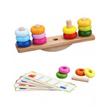 Дървена играчка за подреждане и баланс
