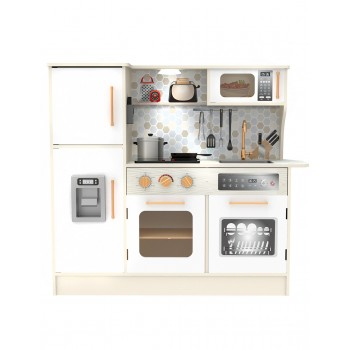 Голяма дървена кухня за игра, бяла