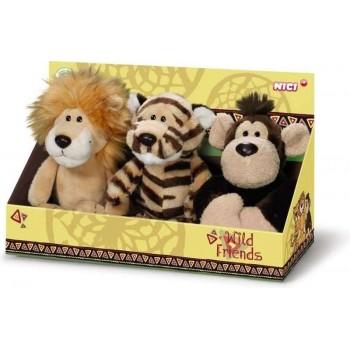 Комплект плюшени играчки - Лъв, Тигър, Маймуна