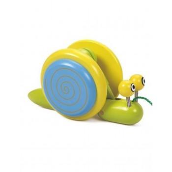 Дървена играчка - Охлюв за дърпане