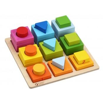 Дървени блокчета с различна геометрична форма