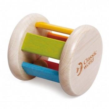 Дървена дрънкалка - валяче с топче