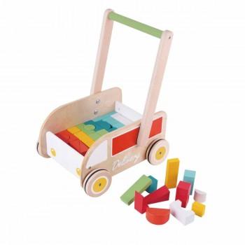 Дървена проходилка за бебета с кубчета за нареждане
