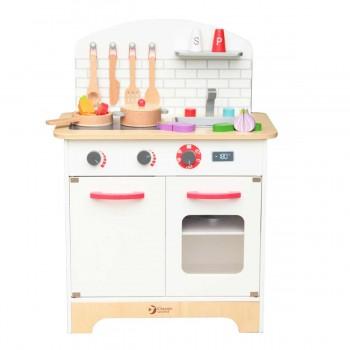 Детска дървена кухня за игра с аксесоари
