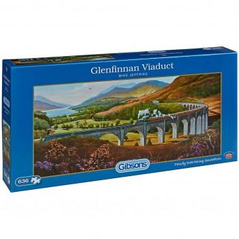 Панорамен пъзел Gibsons от 636 части – Виадуктът Гленфинън, Майк Джефрис