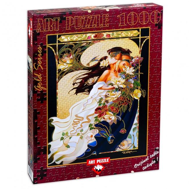 Блестящ пъзел Art Puzzle от 1000 части - Романтична двойка, Сандра Уoкийн