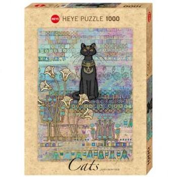 Пъзел Heye от 1000 части - Египетска котка, Джейн Краутър - Котки