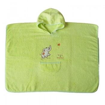 Детска хавлия за баня тип пончо светло зелена