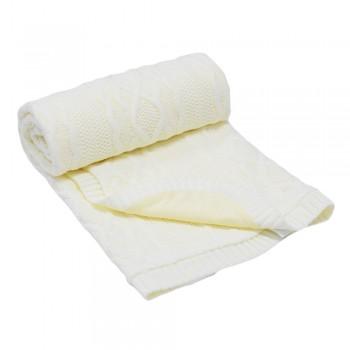 Бебешко одеяло плетено - ромбоиди бяло