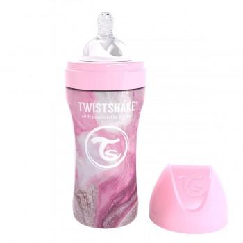 Бебешко шише Twistshake 330 мл от нераждаема стомана - Мраморно розово