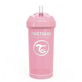Чаша със сламка Twistshake - 360 ml 12+ месеца розова