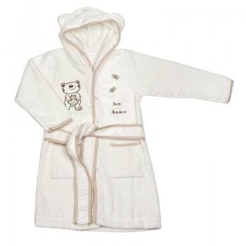 Детски халат с качулка - мече бял