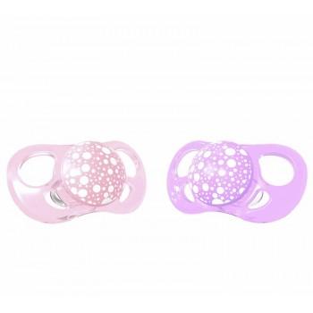Залъгалки за бебета Twistshake 2 бр. 0-6 месеца розово и лилаво
