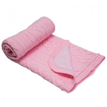 Бебешко одеяло плетено - ромбоиди светло розово