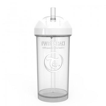 Чаша със сламка Twistshake - 360 ml 12+ месеца бяла