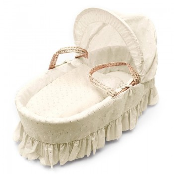 Плетено кошче за новородено - кремава английска бродерия