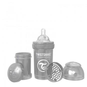 Шише против колики за бебета Twistshake 180 мл - Колекция Перла сиво