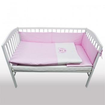 Бебешки спален комплект от 3 части - лъвче светло розов