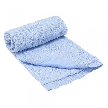 Бебешко одеяло плетено - ромбоиди синьо