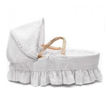 Плетено кошче за новородено, Бяла Английска бродерия