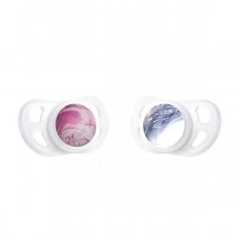 Залъгалки за бебета Twistshake 2 бр. 0-6 месеца, Мраморно розова и лилава