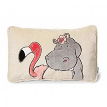 Декоративна плюшена възглавничка с хипопотам и фламинго