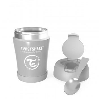 Контейнер за храна от неръждаема стомана Twistshake 6+ месеца сив