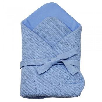 Плетено одеяло за бебета синьо