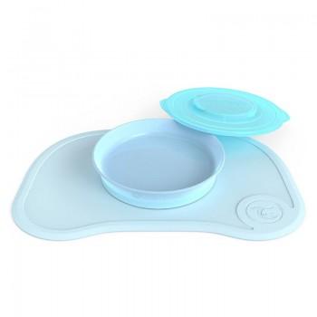 Самозалепваща се подложка за хранене с чиния Twistshake 6+ месеца синя