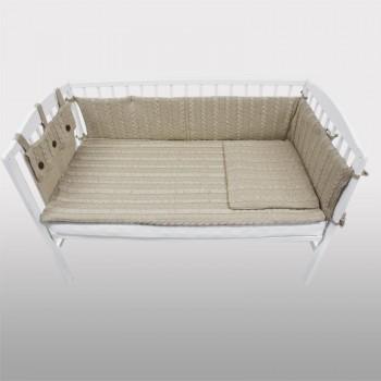 Плетен комплект за бебешко креватче бежов