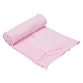 Бебешко плетено одеяло - панделка, розово