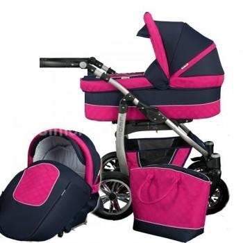 Детска количка 2 в 1, Baby Merc, модел Leo - Черно / Розово