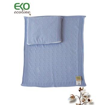 Подложка и възглавничка за детска количка синьо