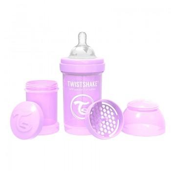 Шише против колики за бебета Twistshake 180 мл лилаво