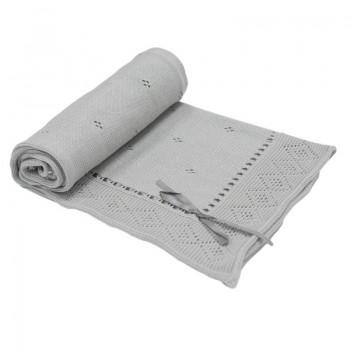Бебешко плетено одеяло - панделка, сиво